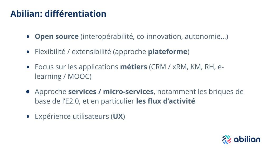 Abilian: différentiation • Open source (interopé...