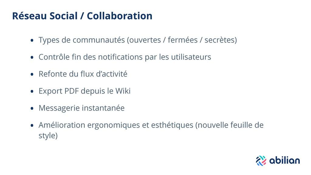 Réseau Social / Collaboration • Types de commun...