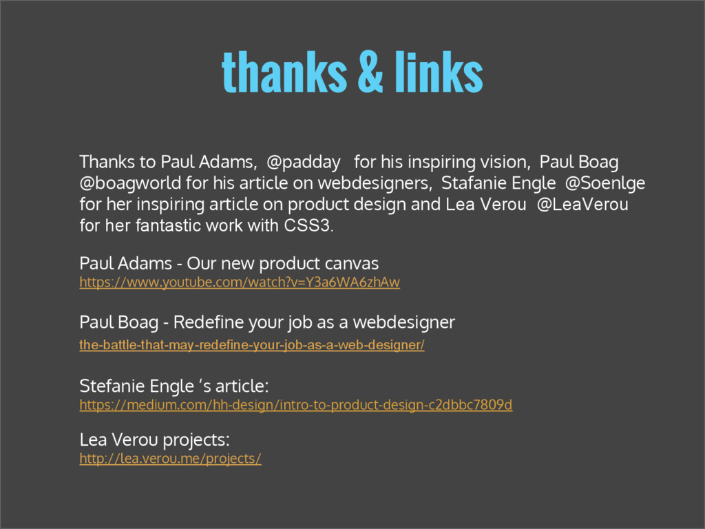 thanks & links Paul Adams - Our new product can...