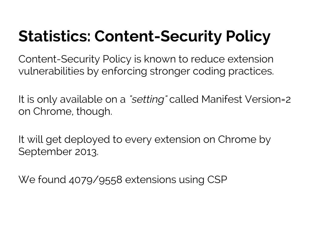 Statistics: Content-Security Policy Content-Sec...