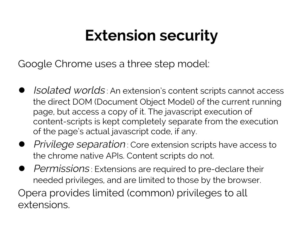 Extension security Google Chrome uses a three s...