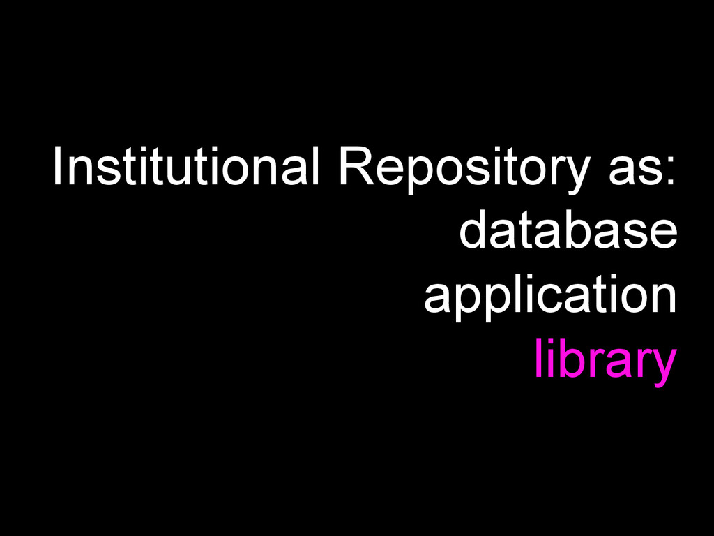 Institutional Repository as: database applicati...