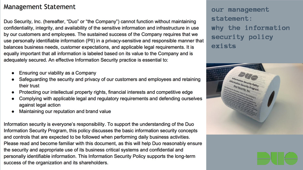our management statement: why the information s...