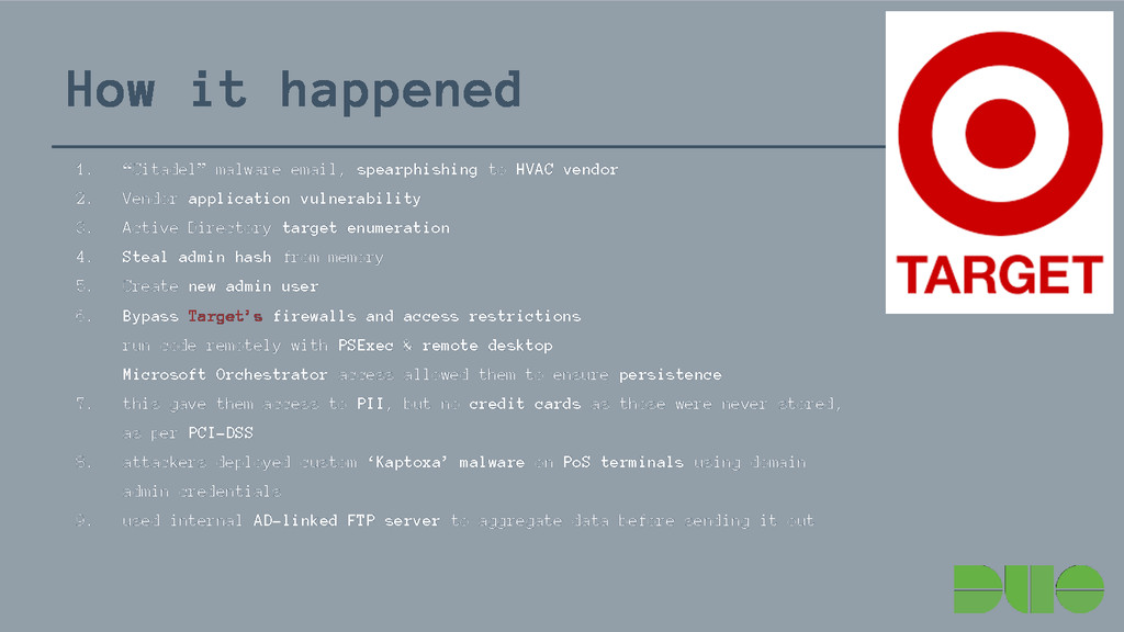 """How it happened 1. """"Citadel"""" malware email, spe..."""
