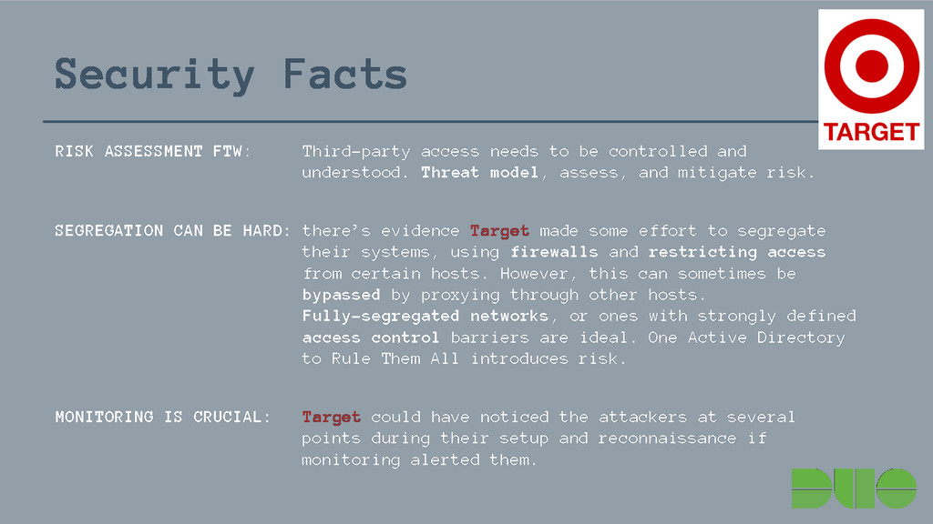 Security Facts RISK ASSESSMENT FTW: Third-party...
