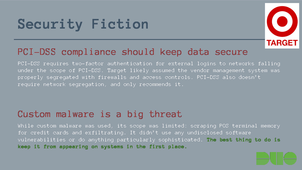 Security Fiction PCI-DSS compliance should keep...