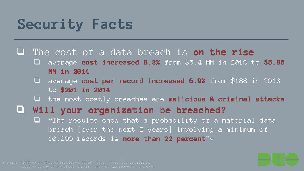 Security Facts ❏ The cost of a data breach is o...