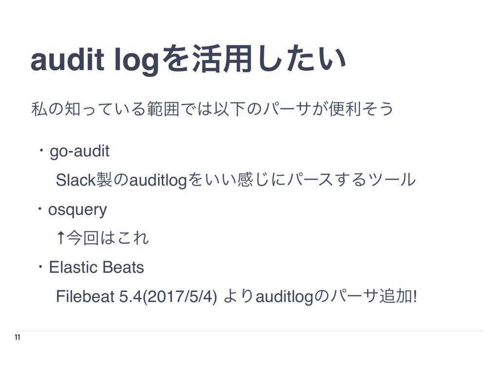 11 audit logΛ׆༻͍ͨ͠ ɾgo-audit SlackͷauditlogΛ͍͍...