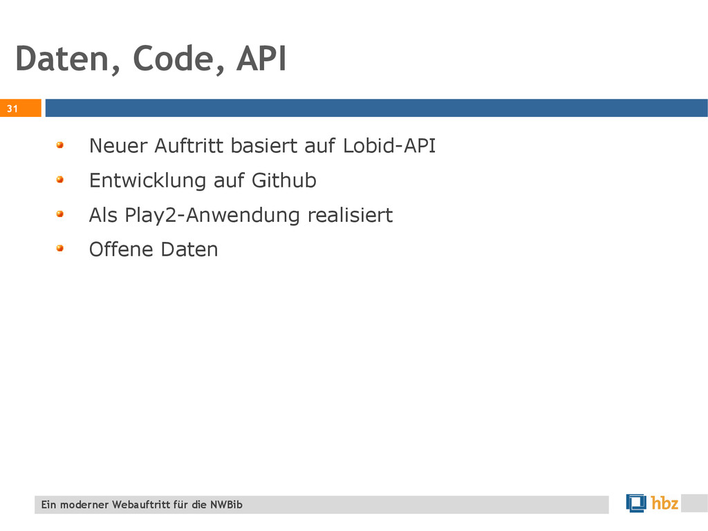 Daten, Code, API 31 Ein moderner Webauftritt fü...