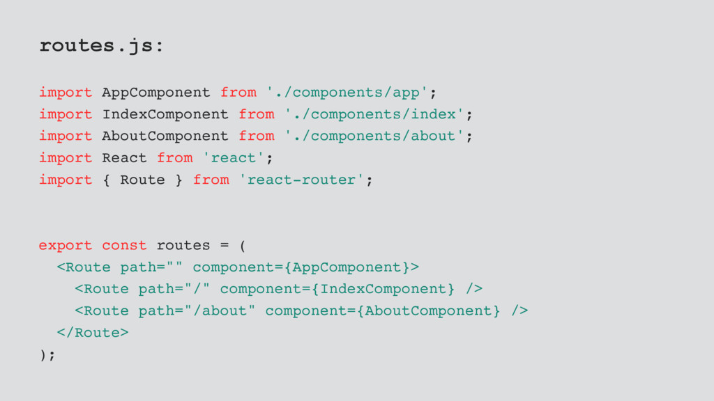 routes.js: import AppComponent from './componen...