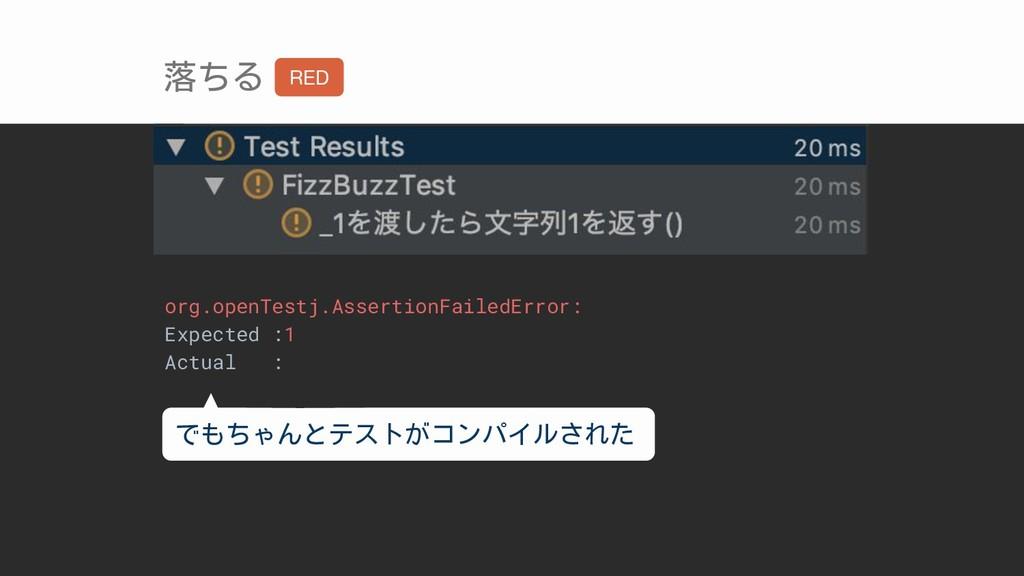 落ちる org.openTestj.AssertionFailedError: Expecte...