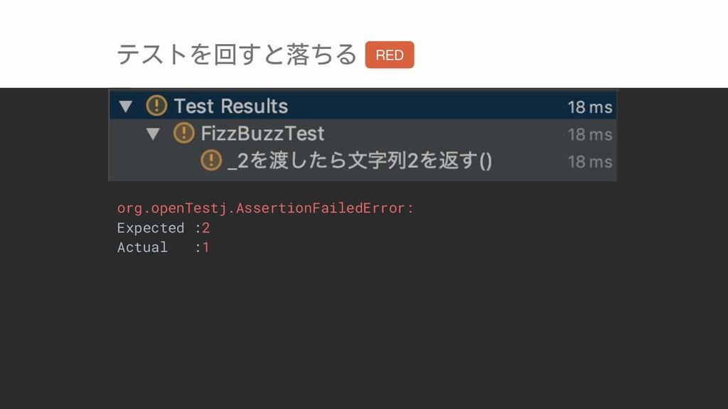 テストを回すと落ちる org.openTestj.AssertionFailedError: ...