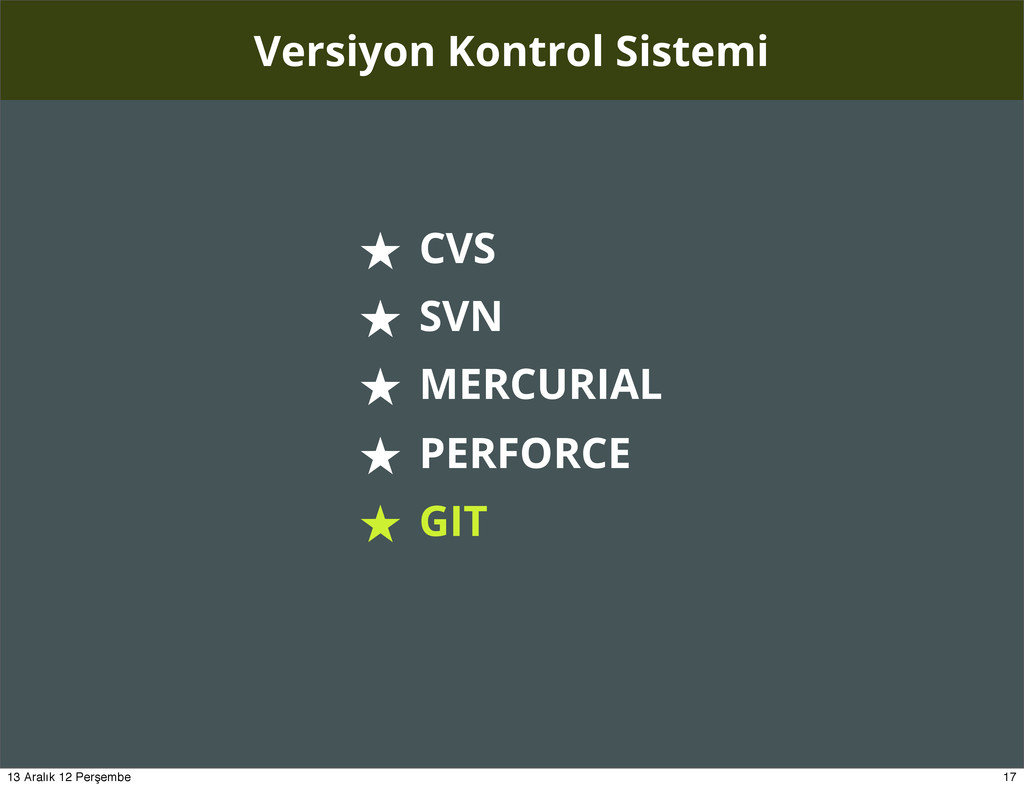Versiyon Kontrol Sistemi ★ CVS ★ SVN ★ MERCURIA...