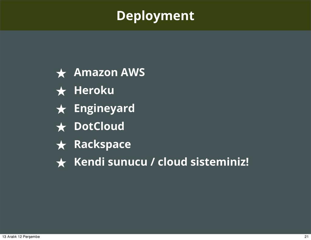 Deployment ★ Amazon AWS ★ Heroku ★ Engineyard ★...