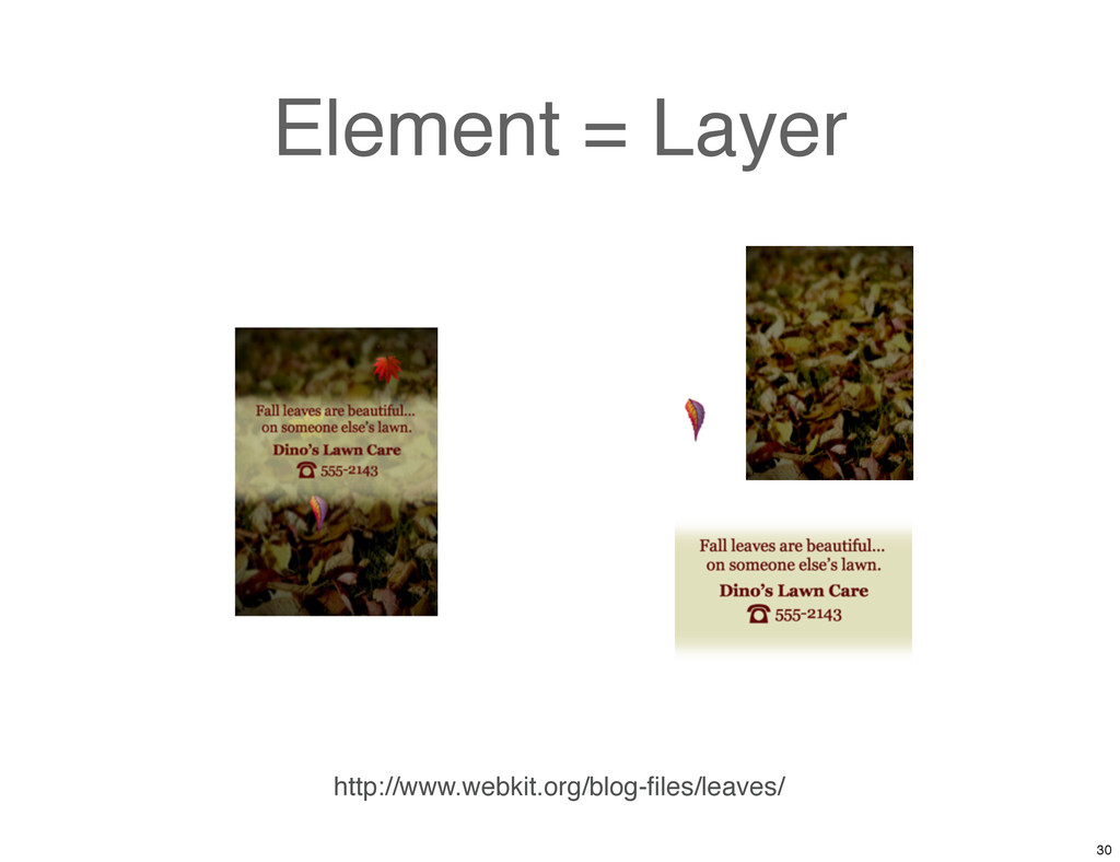 Element = Layer http://www.webkit.org/blog-files...