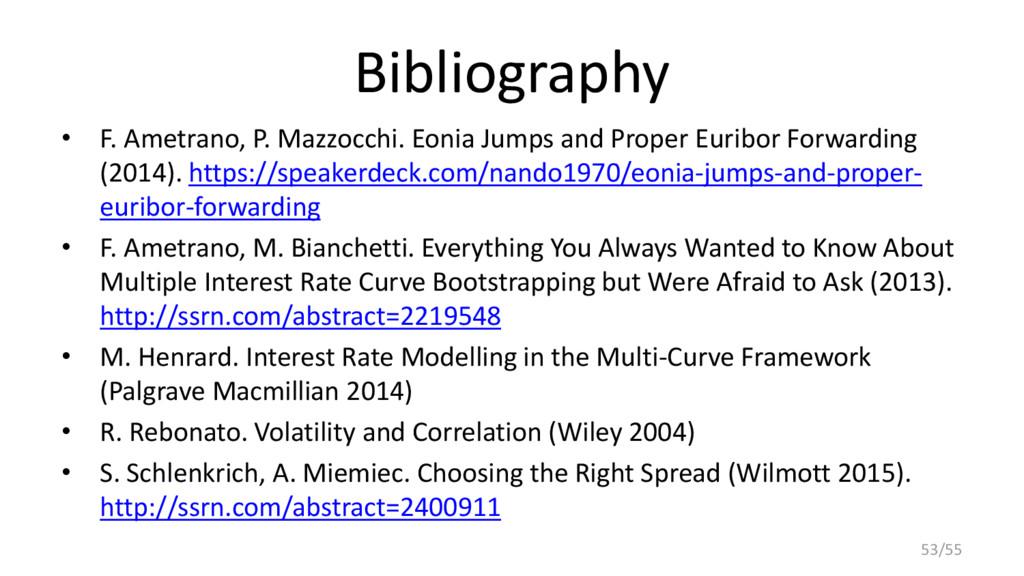 Bibliography • F. Ametrano, P. Mazzocchi. Eonia...