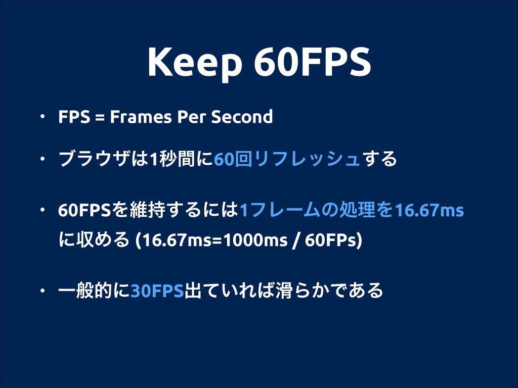 Keep 60FPS • FPS = Frames Per Second • ϒϥβ1ඵؒ...