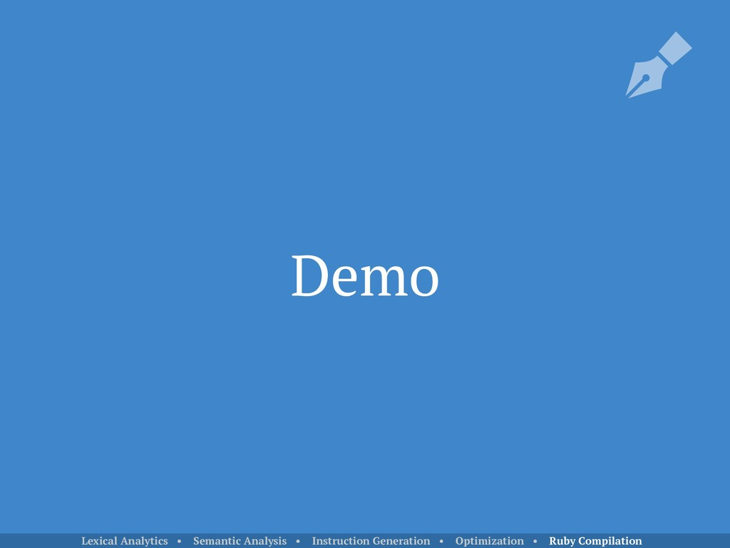 Demo Lexical Analytics • Semantic Analysis • In...