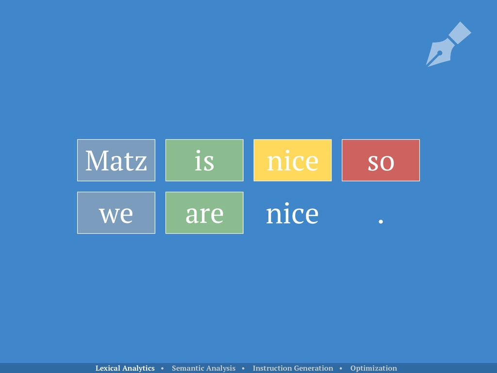 Matz is nice so we are . nice Lexical Analytics...