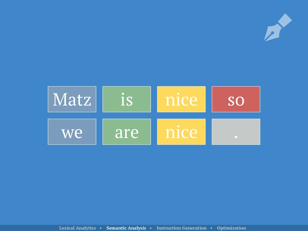 Matz is nice so we are nice . Lexical Analytics...