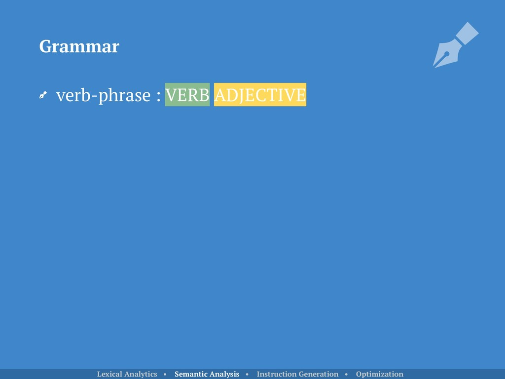verb-phrase : VERB ADJECTIVE Grammar Lexical An...