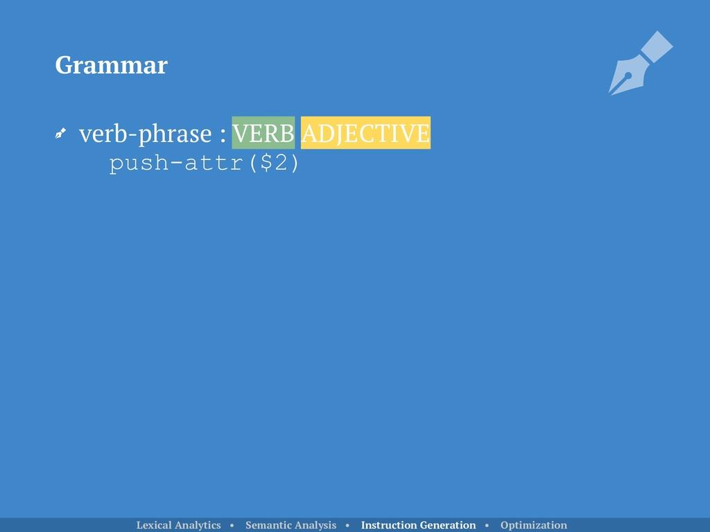 verb-phrase : VERB ADJECTIVE push-attr($2) Gra...