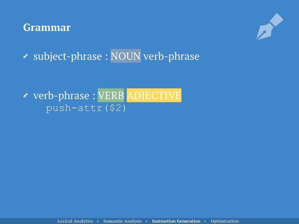 subject-phrase : NOUN verb-phrase verb-phrase ...