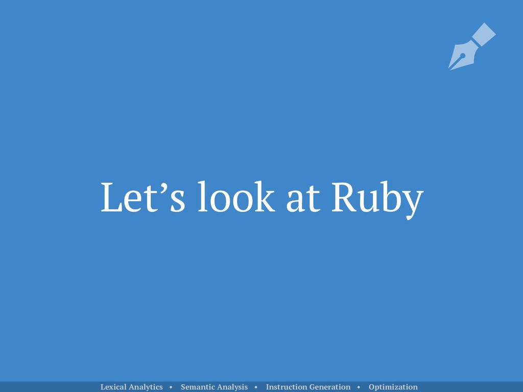 Let's look at Ruby Lexical Analytics • Semantic...
