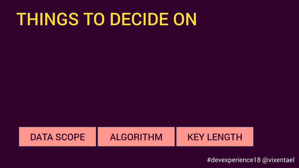 THINGS TO DECIDE ON KEY LENGTH DATA SCOPE ALGOR...