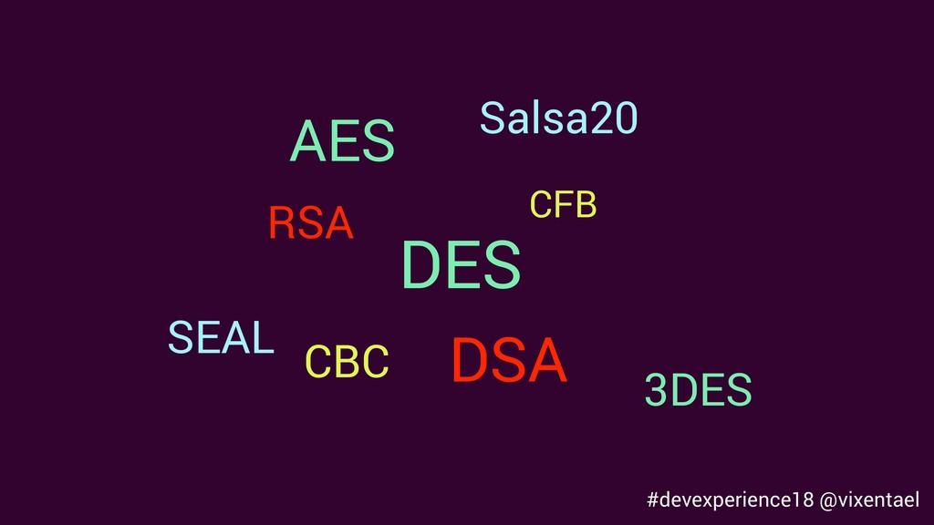 AES DES 3DES CBC CFB SEAL Salsa20 RSA DSA #deve...