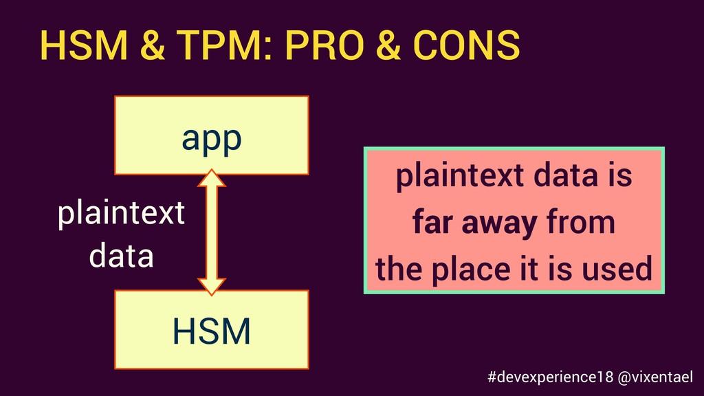 HSM & TPM: PRO & CONS HSM app plaintext data pl...