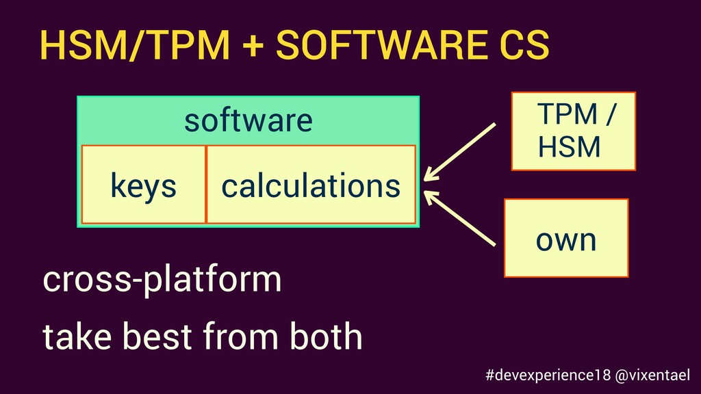 HSM/TPM + SOFTWARE CS keys calculations TPM / o...