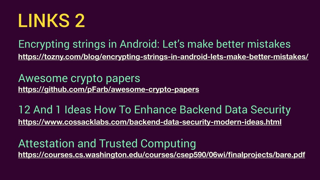 LINKS 2 Encrypting strings in Android: Let's ma...