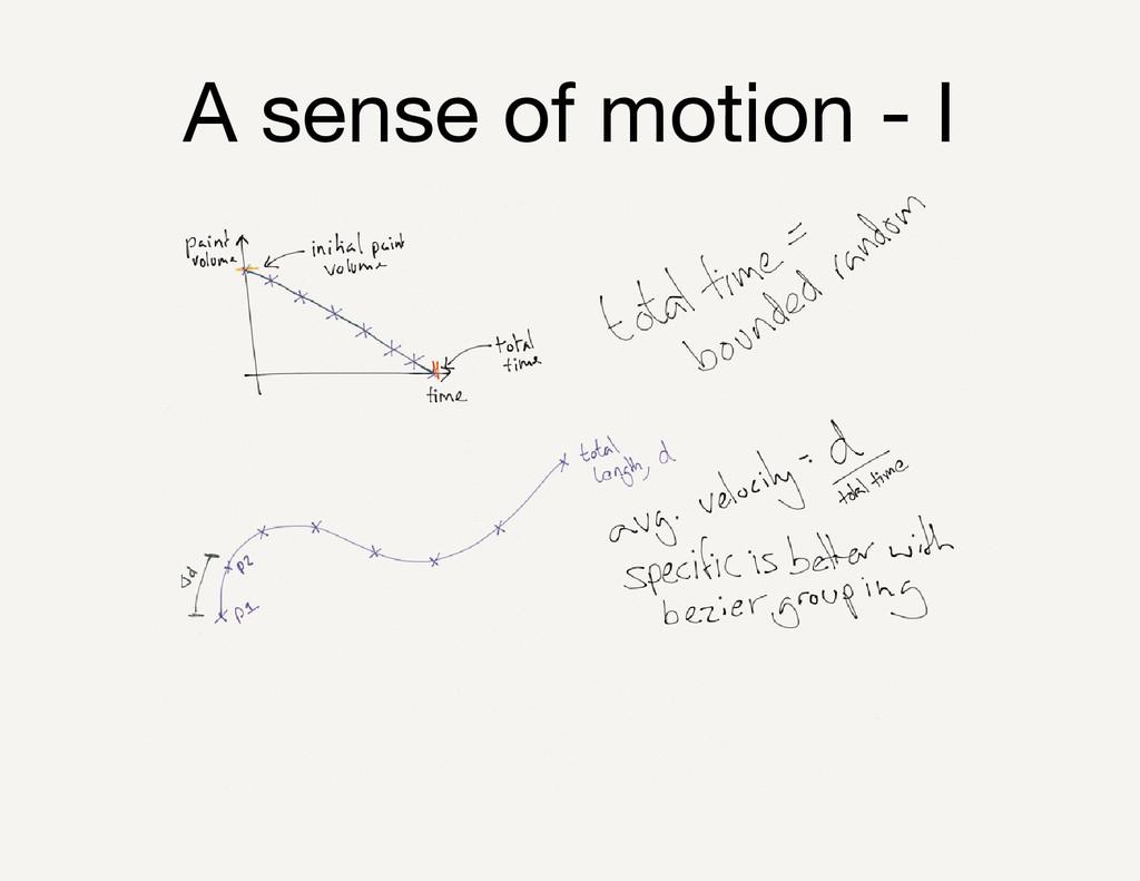 A sense of motion - I