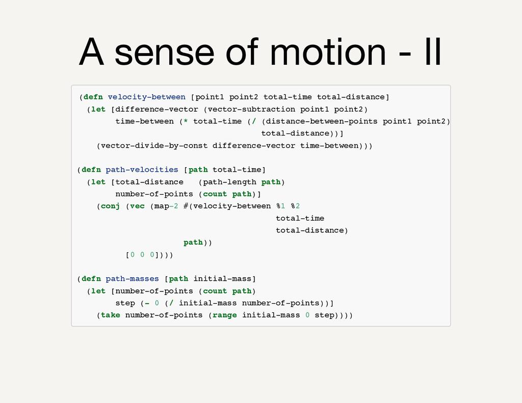 A sense of motion - II ( d e f n v e l o c i t ...