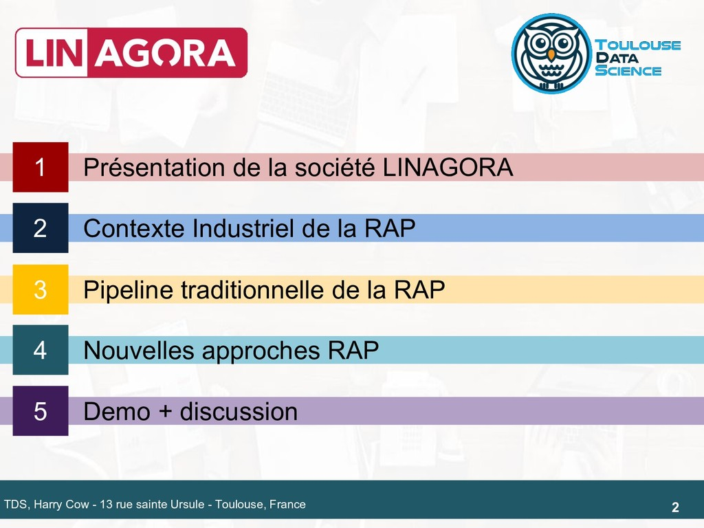 2 Nouvelles approches RAP 4 Demo + discussion 5...