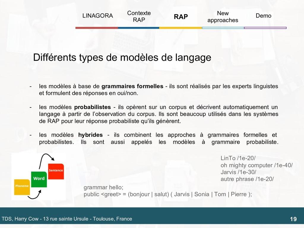 - les modèles à base de grammaires formelles - ...