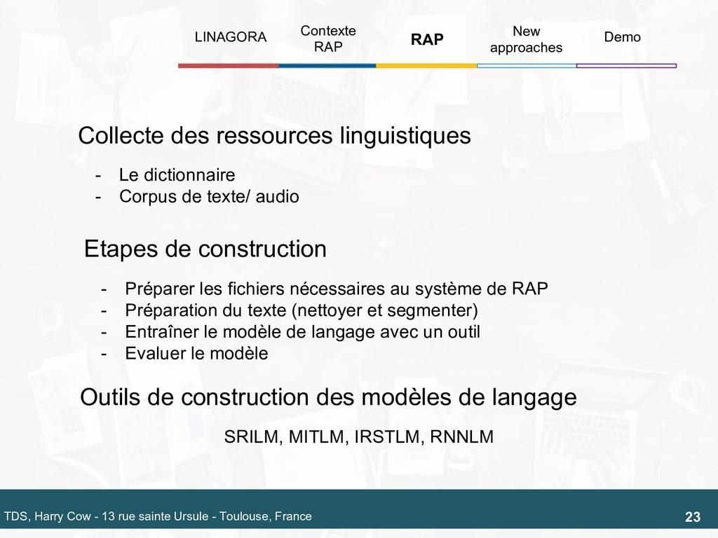 Collecte des ressources linguistiques Outils de...
