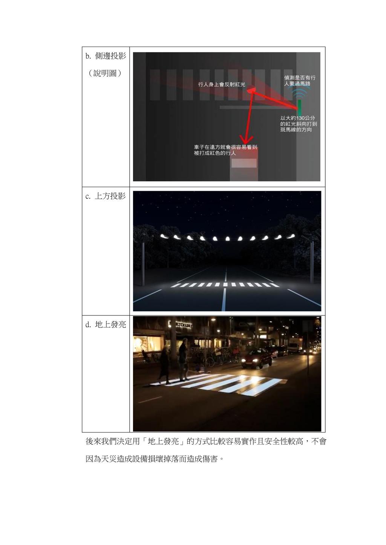 b. 側邊投影 (說明圖) c. 上方投影 d. 地上發亮 後來我們決定用「地上發亮」的方式比...