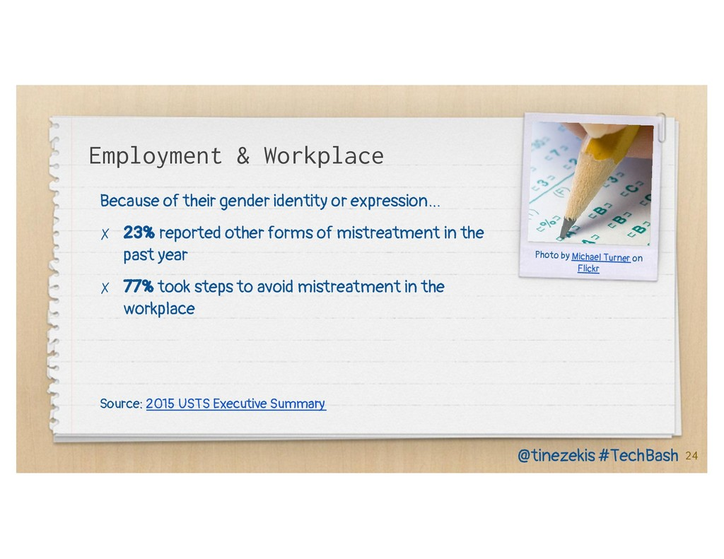 Employment & Workplace Because of their gender ...