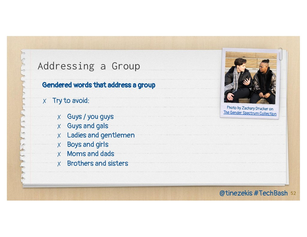 Addressing a Group Gendered words that address ...