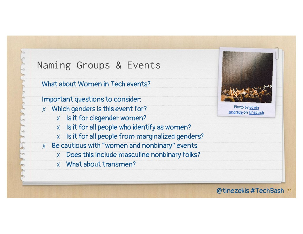 Naming Groups & Events What about Women in Tech...
