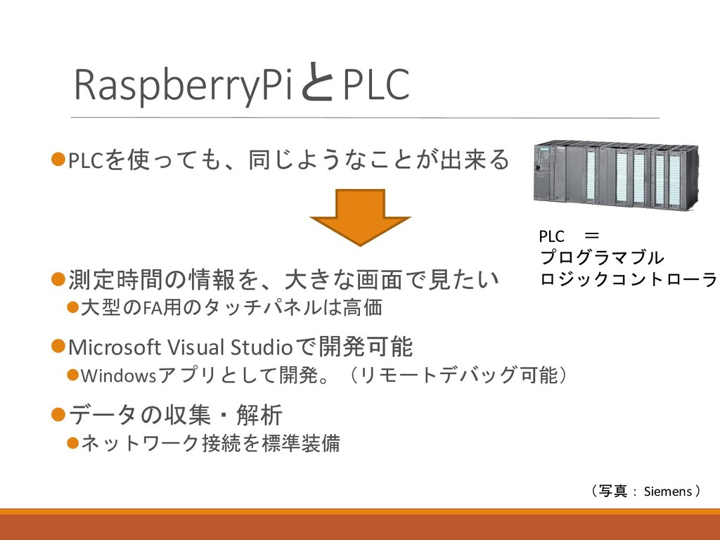 RaspberryPiとPLC ⚫PLCを使っても、同じようなことが出来る ⚫測定時間の情報を...