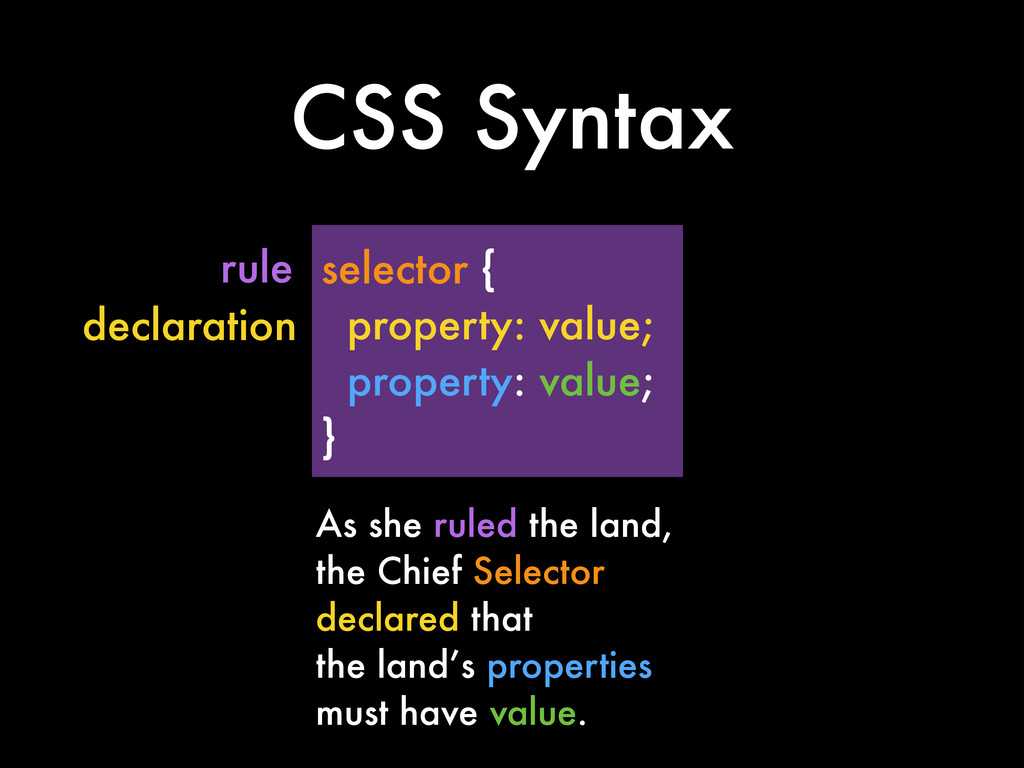 selector { property: value; property: value; } ...