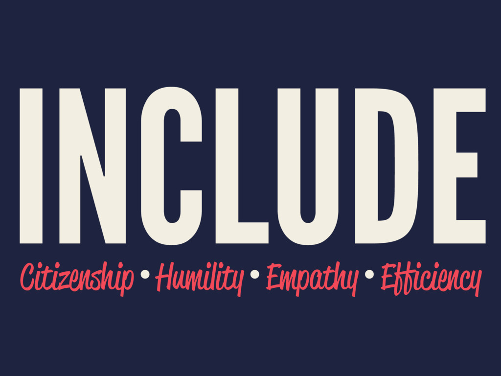 INCLUDE Citizenship • Humility • Empathy • Effi...