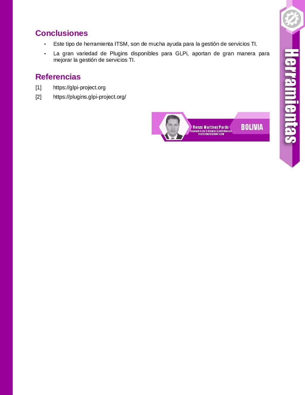 Conclusiones • Este tipo de herramienta ITSM, s...