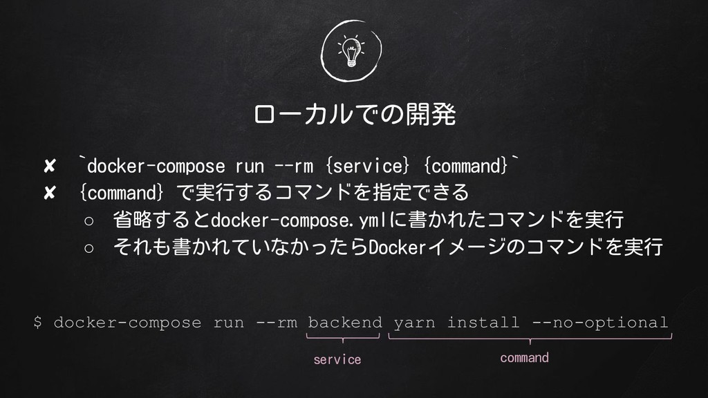 ローカルでの開発 ✘ `docker-compose run --rm {service} {...