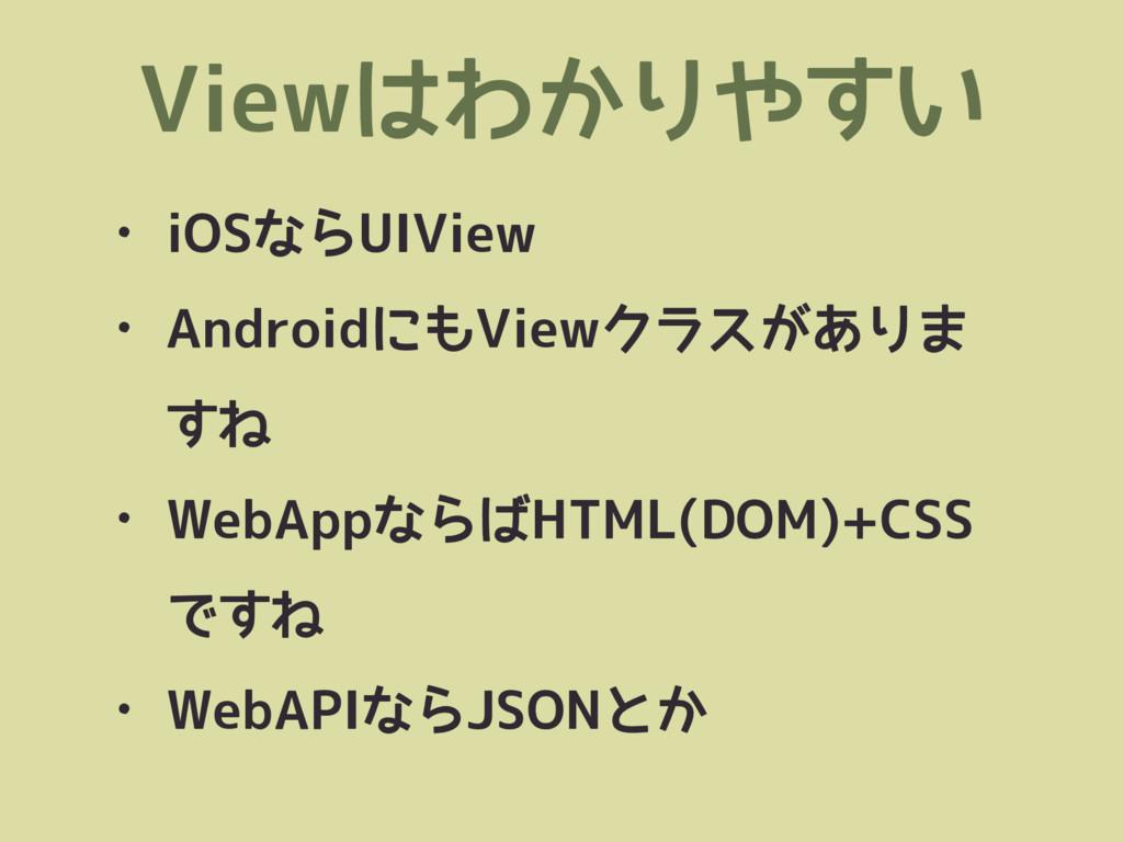 Viewはわかりやすい • iOSならUIView • AndroidにもViewクラスがあり...