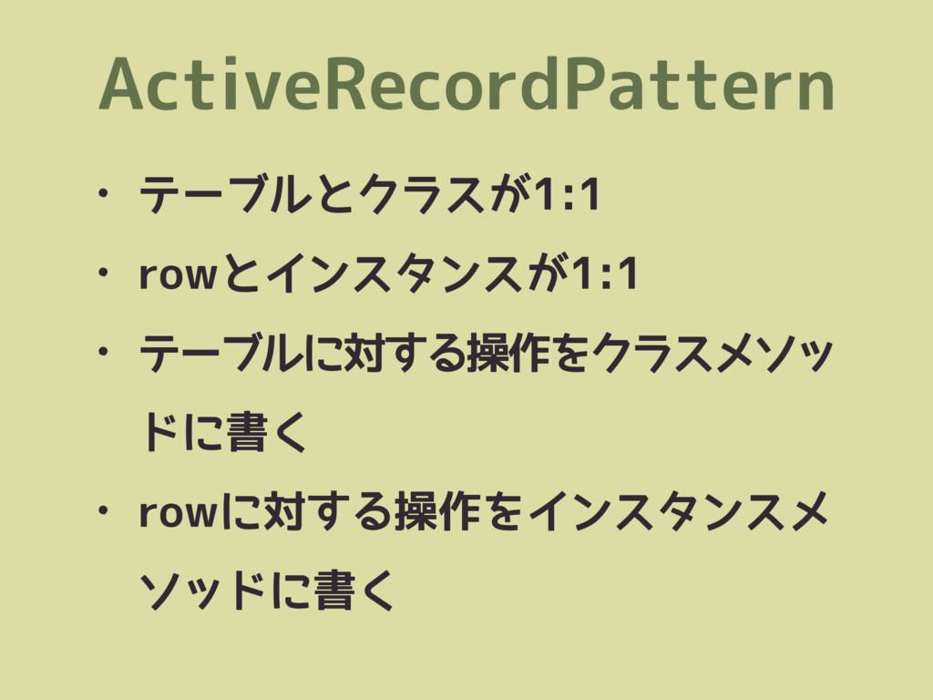 ActiveRecordPattern • テーブルとクラスが1:1 • rowとインスタンス...