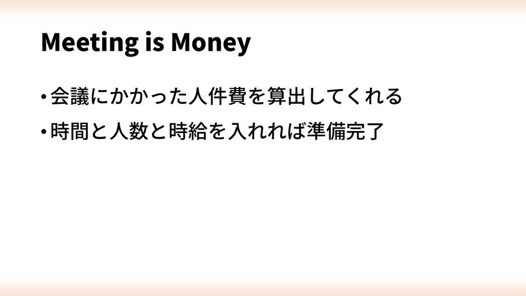 Meeting is Money •会議にかかった⼈件費を算出してくれる •時間と⼈数と時給を...